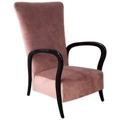 Italian Midcentury Pink Velvet and Wood Armchair with Curved Armrests, 1950s