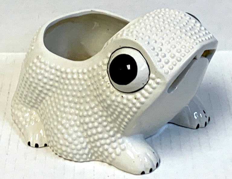Italian midcentury pottery frog planter, in black and white with expressive eyes, with a 3.75