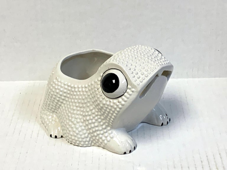 Italian Midcentury Pottery Frog Planter For Sale 3
