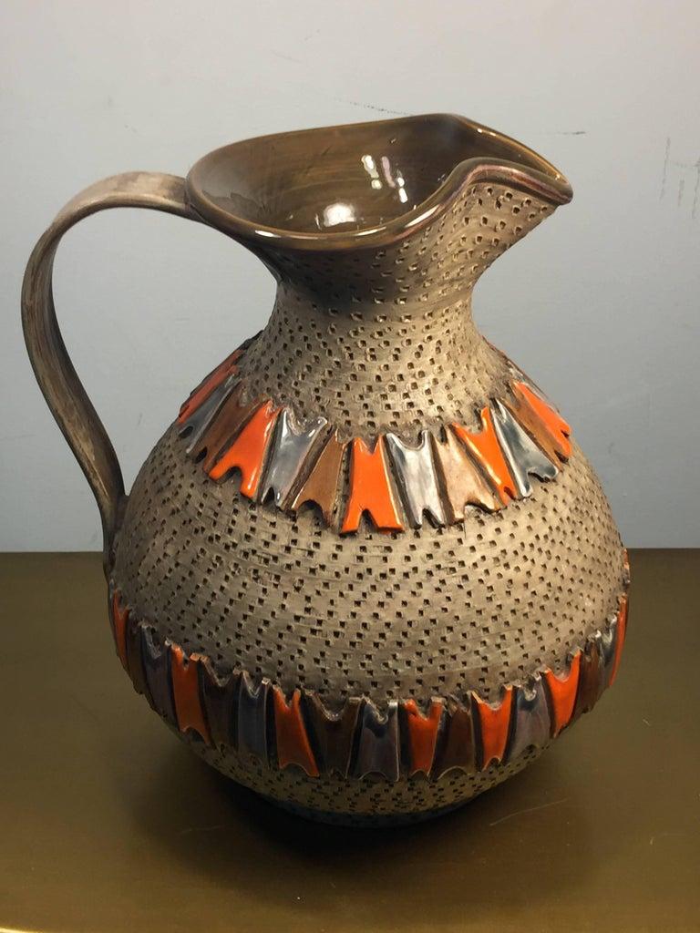 Mid-Century Modern Italian Mid Century Pottery Pitcher For Sale