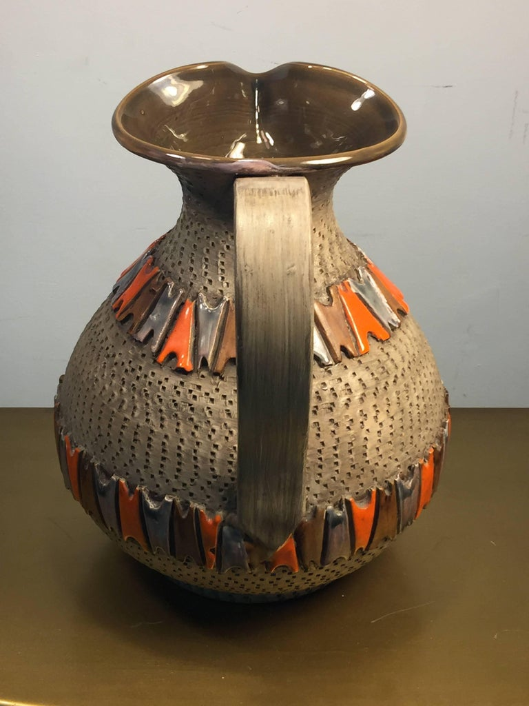 Glazed Italian Mid Century Pottery Pitcher For Sale