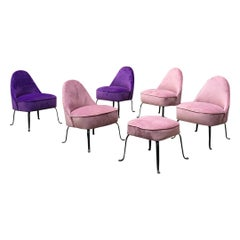 Italian Midcentury Purple and Pink Velvet and Metal Armchairs and Pouf, 1950s