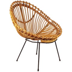 Italian Midcentury Rattan and Black Metal Armchair