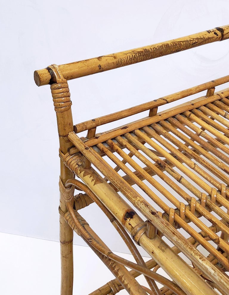 Italian Midcentury Rattan Cane and Bamboo Drinks Cart For Sale 8