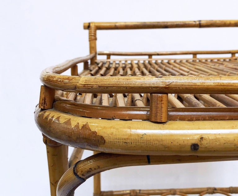 Italian Midcentury Rattan Cane and Bamboo Drinks Cart For Sale 9