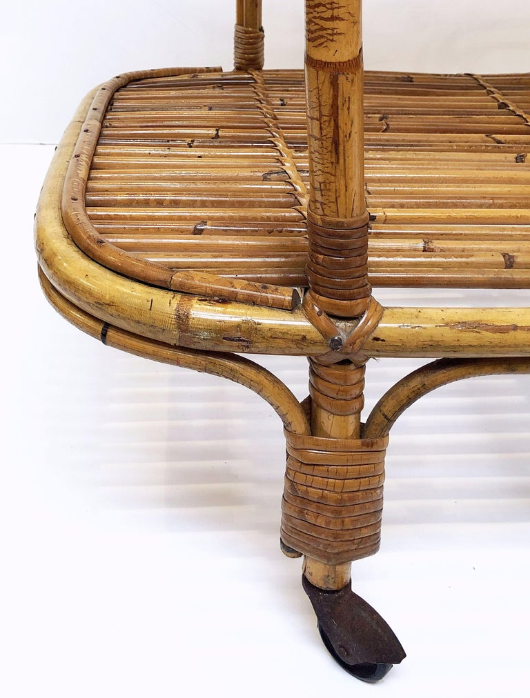 Italian Midcentury Rattan Cane and Bamboo Drinks Cart For Sale 13