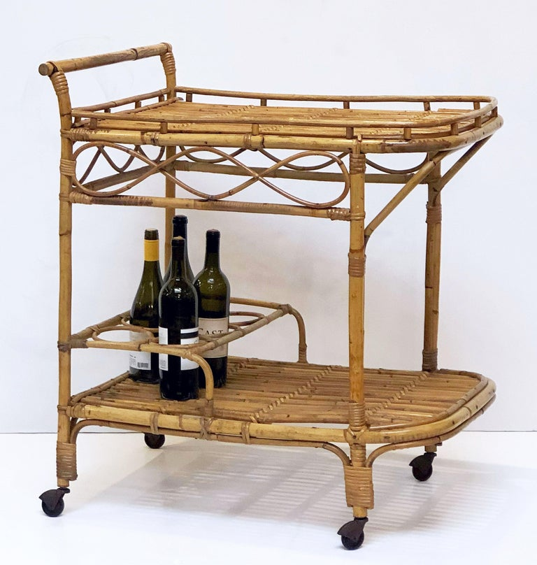 Mid-Century Modern Italian Midcentury Rattan Cane and Bamboo Drinks Cart For Sale