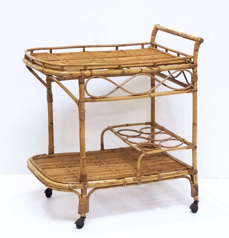 20th Century Italian Midcentury Rattan Cane and Bamboo Drinks Cart For Sale