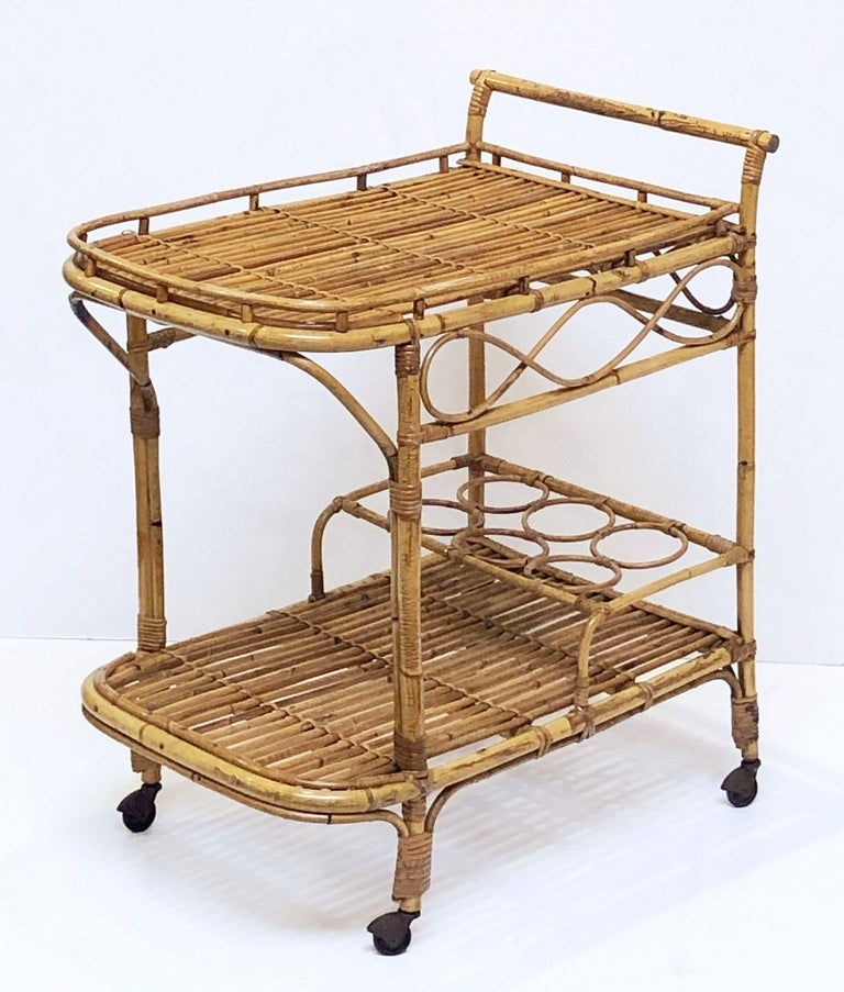 Metal Italian Midcentury Rattan Cane and Bamboo Drinks Cart For Sale