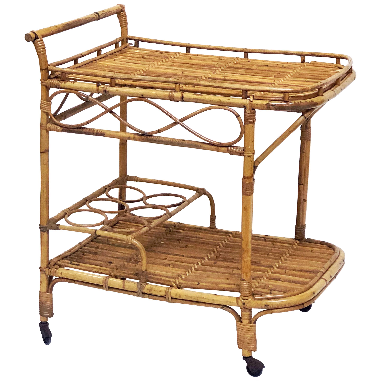 Italian Midcentury Rattan Cane and Bamboo Drinks Cart