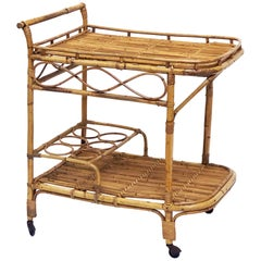 Italian Midcentury Rattan Cane and Bamboo Drinks Cart