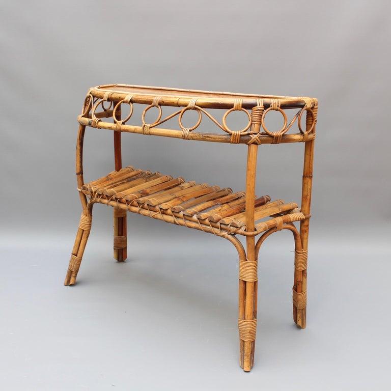 Mid-Century Modern Italian Midcentury Rattan Console Table, circa 1960s For Sale