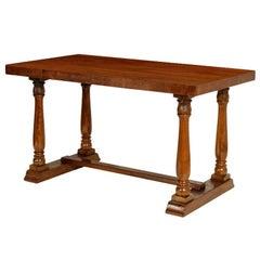 Italian Rectangular Neoclassical Table in Walnut Wax Polished