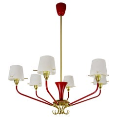 Italian Mid-Century Red Gold Color Six Lights Chandelier by Stilnovo, 1950s