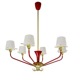 Italian Mid-Century Red Gold Six Lights Chandelier Attributed to Stilnovo, 1950s
