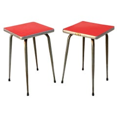 Italian Midcentury Red Laminate Stools with a Squared Seat, 1950s