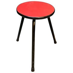 Italian Midcentury Red Laminated and Metal Stool, 1950s