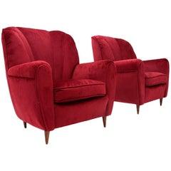 Italian Mid-Century Red Velvet Armchair, 1940s, Set of 2