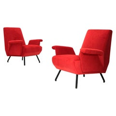 Italian Midcentury Red Velvet Armchair, 1950s, Set of 2
