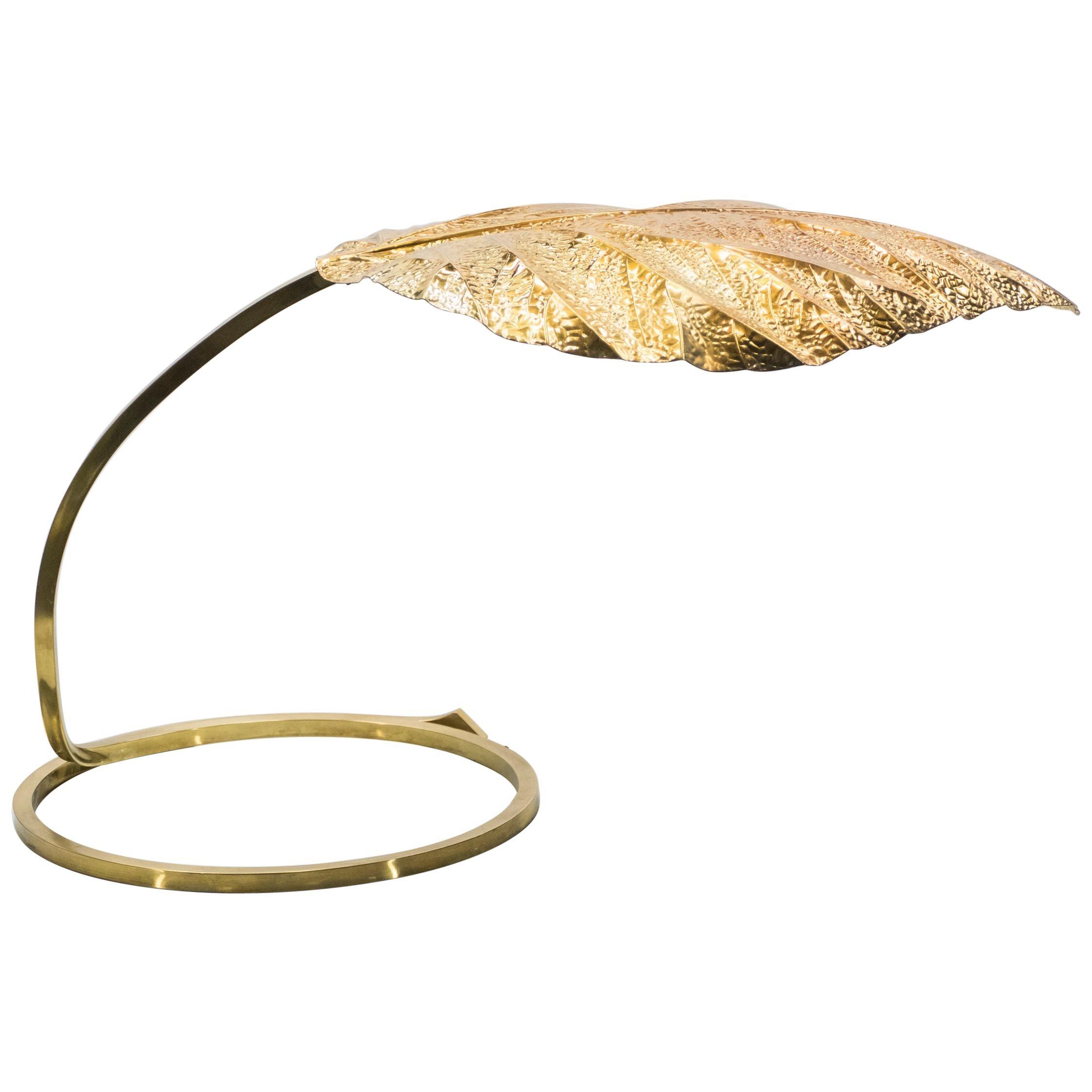 Italian Midcentury Rhubarb Brass Table Lamp Tommaso Barbi, 1970s