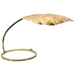 Italian Midcentury Rhubarb Brass Table Lamp Tommaso Barbi, 1970s