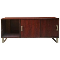 Italian Midcentury Rosewood and Steel Sideboard with Two Sliding Doors, 1960s