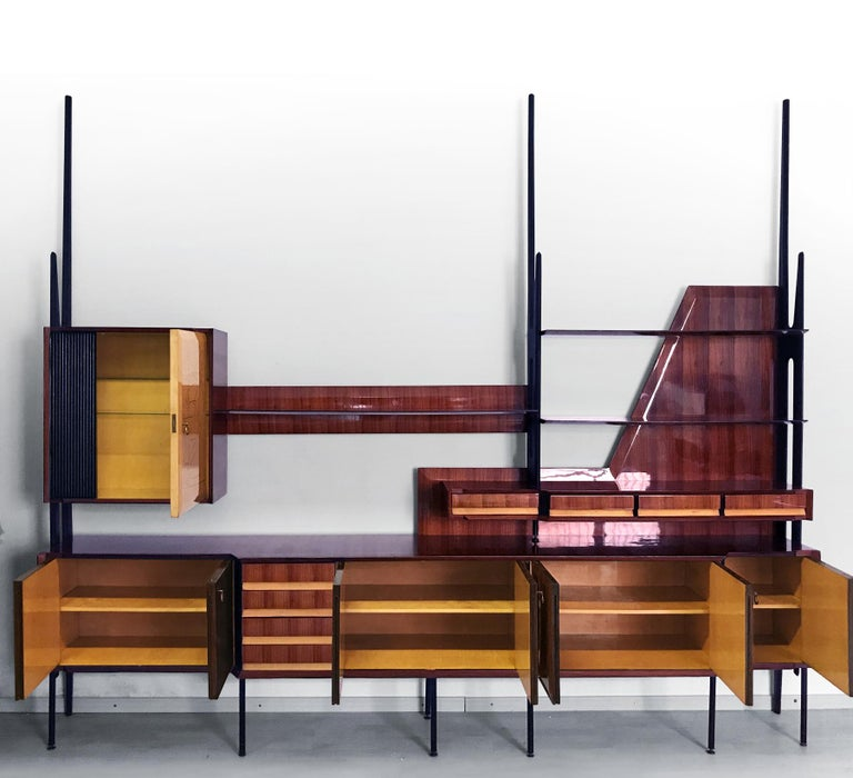 Italian Mid-Century Rosewood Bookcase and Sideboard by Vittorio Dassi, 1950s For Sale 3