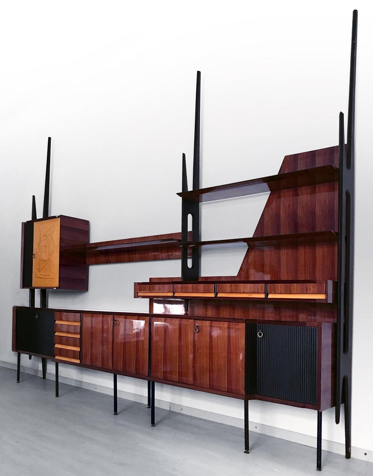 Italian Mid-Century Rosewood Bookcase and Sideboard by Vittorio Dassi, 1950s For Sale 4