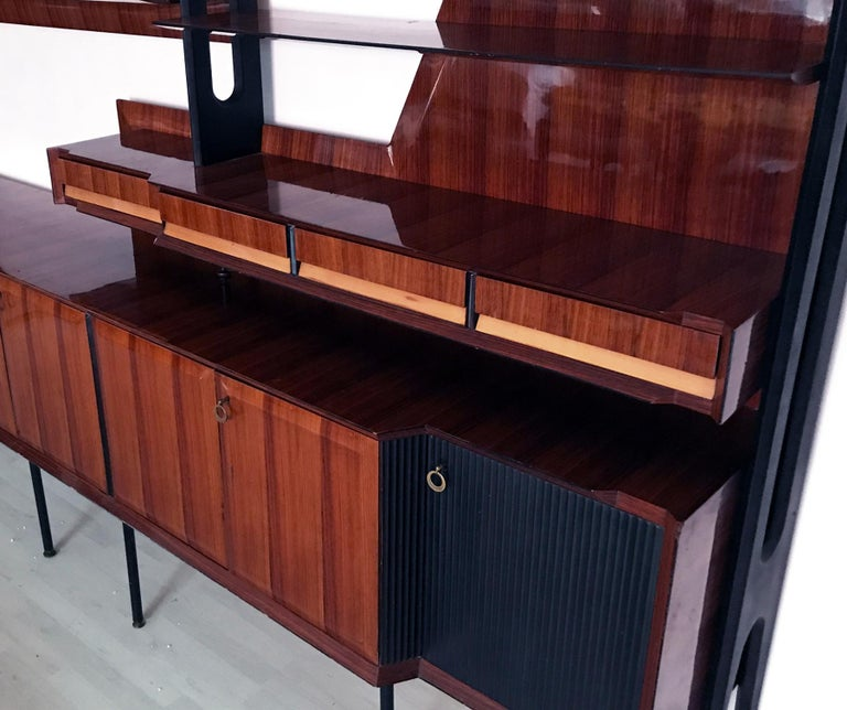 Italian Mid-Century Rosewood Bookcase and Sideboard by Vittorio Dassi, 1950s For Sale 5