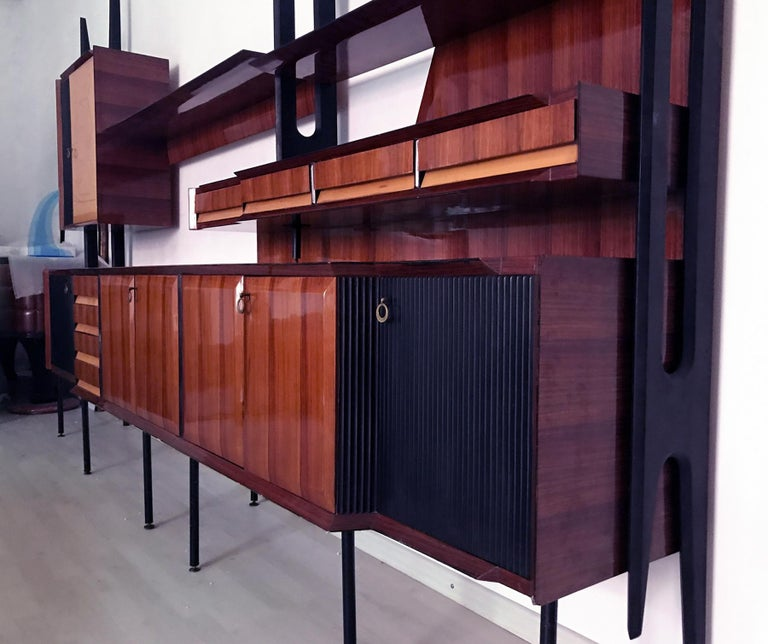 Italian Mid-Century Rosewood Bookcase and Sideboard by Vittorio Dassi, 1950s For Sale 6