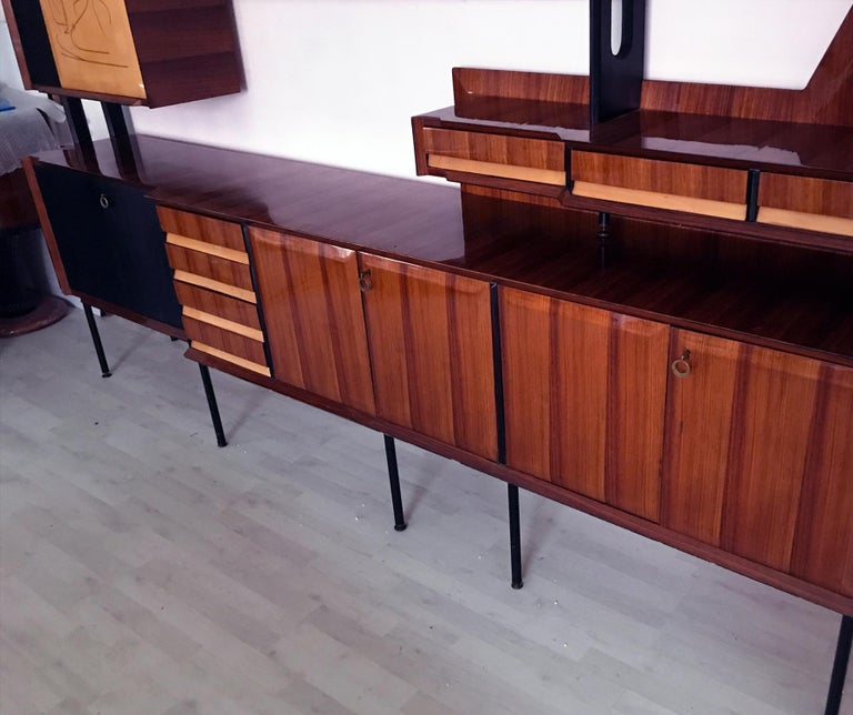 Italian Mid-Century Rosewood Bookcase and Sideboard by Vittorio Dassi, 1950s For Sale 7