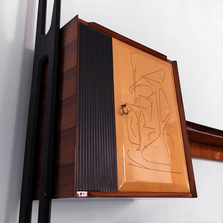 Italian Mid-Century Rosewood Bookcase and Sideboard by Vittorio Dassi, 1950s For Sale 9