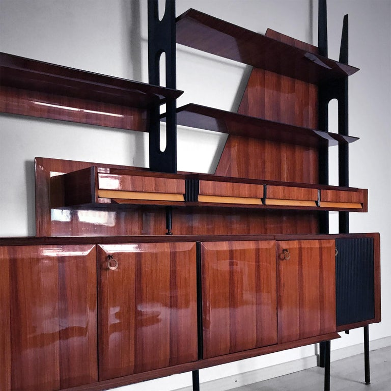 Mid-Century Modern Italian Mid-Century Rosewood Bookcase and Sideboard by Vittorio Dassi, 1950s For Sale
