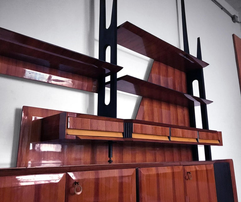 Veneer Italian Mid-Century Rosewood Bookcase and Sideboard by Vittorio Dassi, 1950s For Sale
