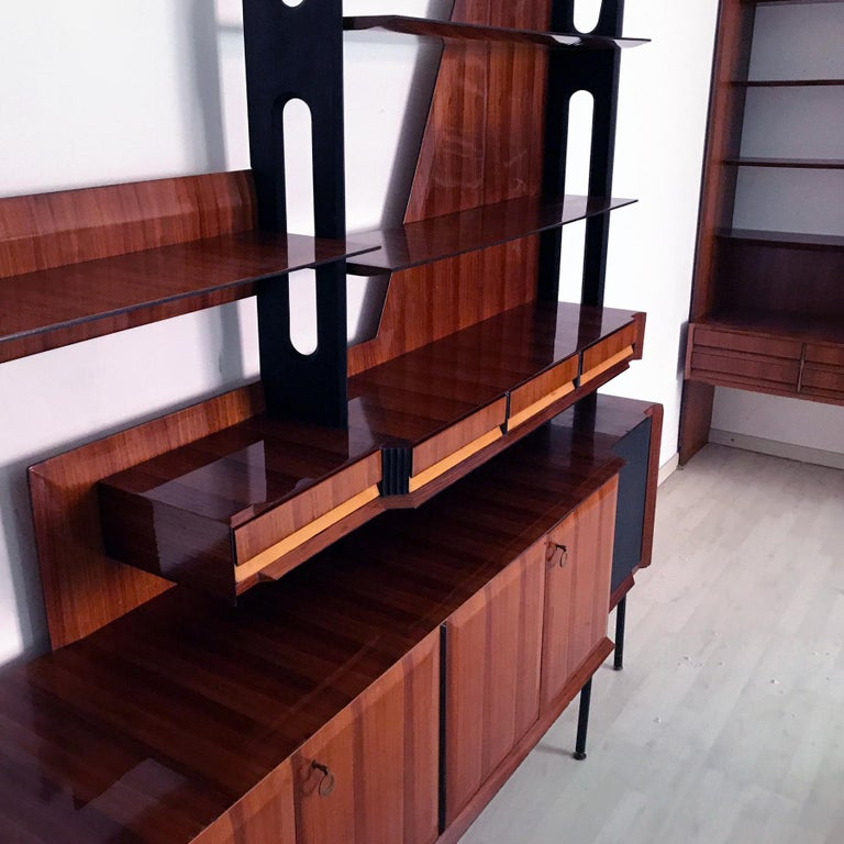 Maple Italian Mid-Century Rosewood Bookcase and Sideboard by Vittorio Dassi, 1950s For Sale