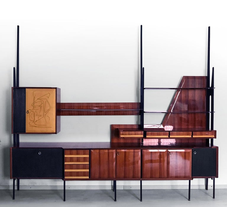 Italian Mid-Century Rosewood Bookcase and Sideboard by Vittorio Dassi, 1950s For Sale 2