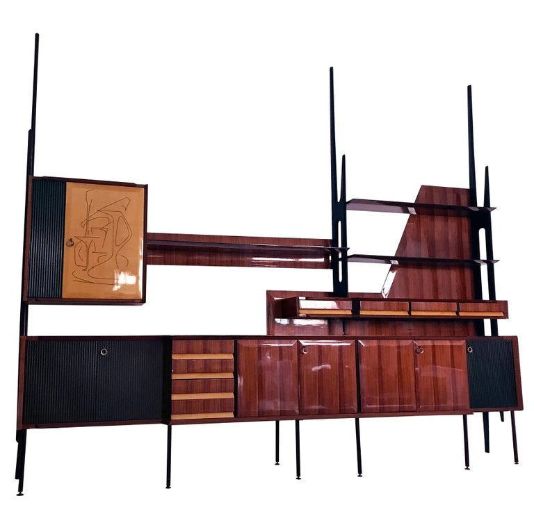 Italian Mid-Century Rosewood Bookcase and Sideboard by Vittorio Dassi, 1950s For Sale