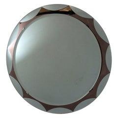 Italian Mid-Century Round Mirror by Metalvetro Galvorame