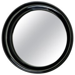 Italian Midcentury Round Mirror with Deep Off-Center Black Frame