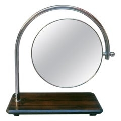 Italian Midcentury Round Table Mirror with Wooden Base, 1970s