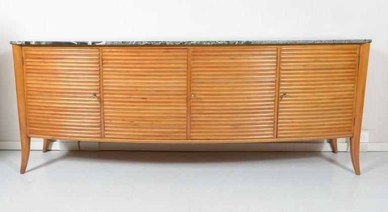 Mid-Century Modern Italian Midcentury Rounded Sideboard with Grooved Front and Marble Top For Sale