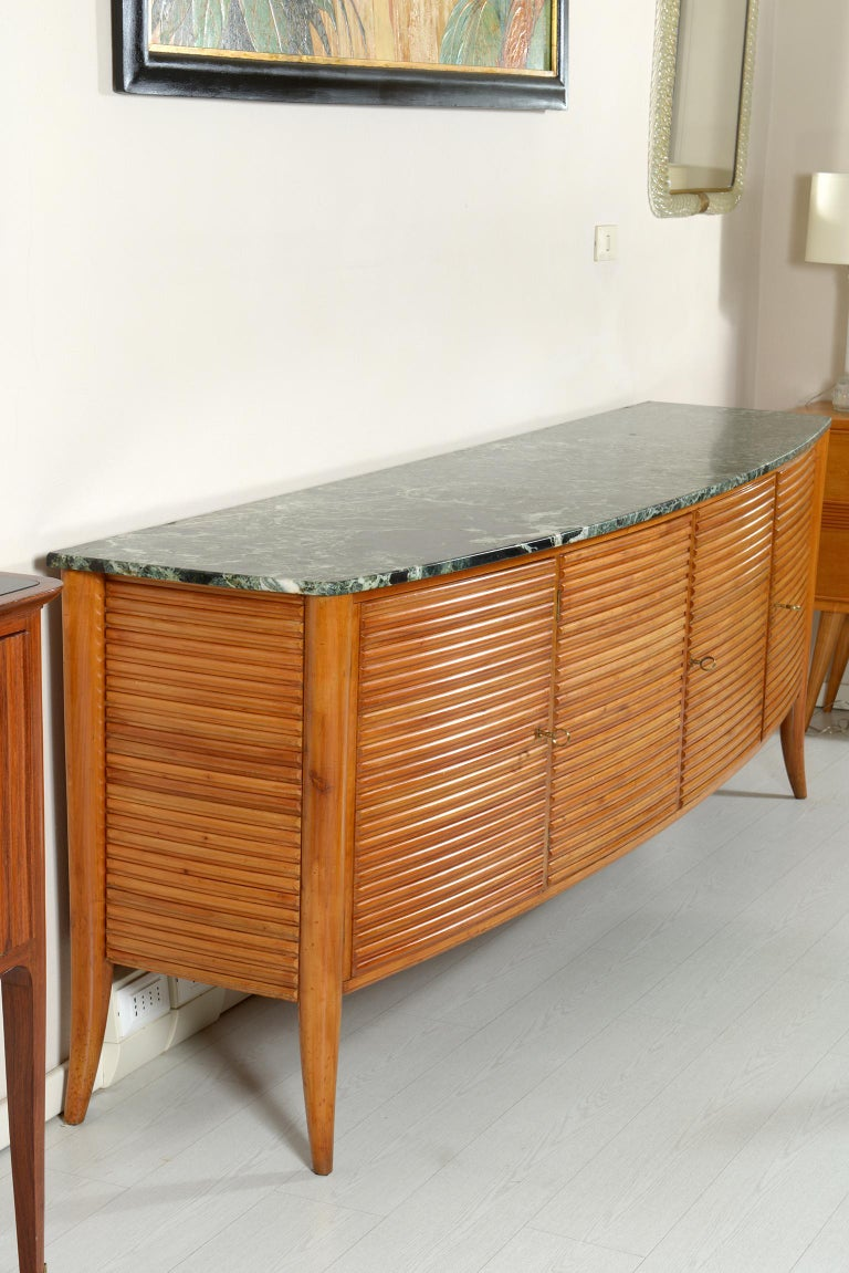 Mid-20th Century Italian Midcentury Rounded Sideboard with Grooved Front and Marble Top For Sale