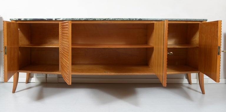 Italian Midcentury Rounded Sideboard with Grooved Front and Marble Top For Sale 2