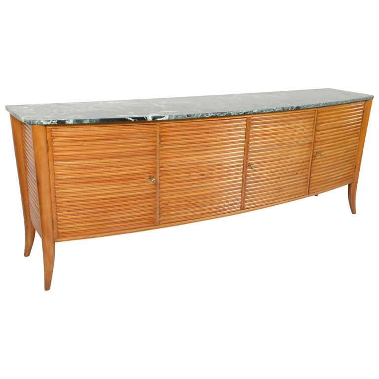 Italian Midcentury Rounded Sideboard with Grooved Front and Marble Top For Sale