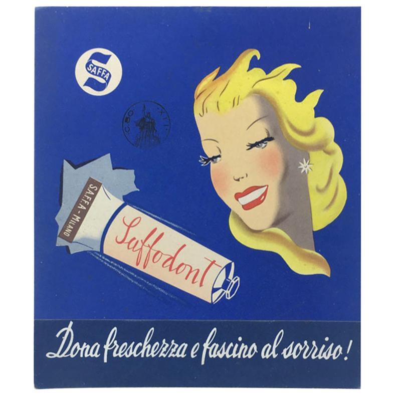 Italian Midcentury Saffa Carton Toothpaste Advertising, 1950s