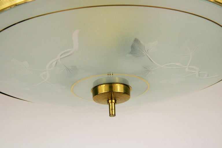 Brass Italian Midcentury Semi Flushmount For Sale