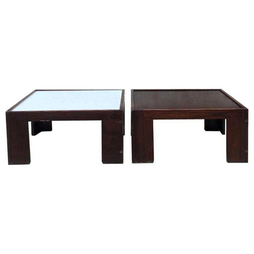 Italian Midcentury Set of Two Wood Coffee Table by Scarpa for Cassina, 1970