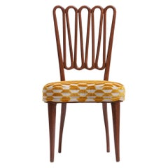 Italian Midcentury Side Chair after Gio Ponti with Gold and Ivory Cut Velvet