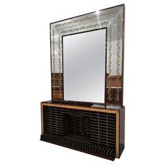 Italian Mid-Century Sideboard Cabinet Bar with Mirror by Luigi Brusotti, 1940s