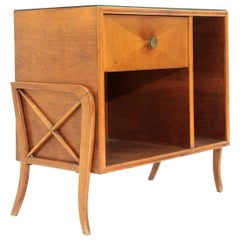 Italian Midcentury Sideboard with Black Glass Top, 1950s